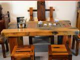 北京老船木茶桌椅组合原生态实木船木家具茶台茶几批发