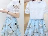 2015夏季新款女装两件套高腰连衣裙 蕾丝短袖圆领套装蓬蓬A字裙