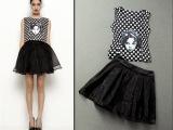 夏欧美欧洲站娃娃头刺绣波点上衣短裙纱裙套装高品质
