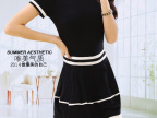 2014韩版新款针织连衣裙条纹拼色连衣裙圆领大码修身连衣裙短袖