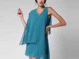 夏季欧洲站时尚气质不规则雪纺连衣裙女欧美 厂家直销