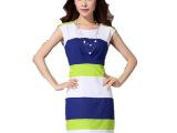 2014新款欧美气质修身铅笔裙包臀裙雪纺连衣裙条纹女装裙子优质