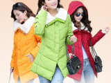厂家直批2014冬季女装韩版羽绒服女中长款 外贸原单加厚羽绒外套