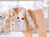 直销汤博士 冬季加厚儿童珊瑚绒棉衣两件套 纯棉新生婴棉衣