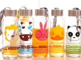 时尚森林款 创意情侣杯子 韩国创意卡通玻璃杯 外贸彩色高档杯子