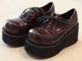 欧美 超高回头率 大圆头系带复古厚底松糕鞋 日系坡跟单鞋女鞋