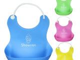外贸OEM立体防水儿童婴儿塑料仿硅胶围嘴围兜口水巾宝宝吃食饭兜