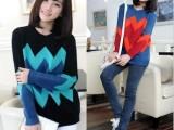 2013新款韩版女装秋冬季新款 大波浪撞色条纹套头 毛衣外套爆款