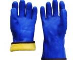 PVC劳保手套 蓝色浸砂开司米拉毛 防寒保暖耐油手套厂家直销