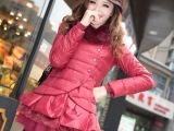 12秋冬新款甜美兔毛领欧美修身纯色短款羽绒服 女 正品清仓
