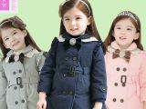 精致贝贝-2014最新韩版冬款品牌童装批发 蕾丝领女童棉衣