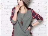 1025# 秋冬新款瑞丽韩版女装圆领格纹后背特殊设计宽松T恤