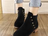 厂家直销2015春季新款加绒靴冬季粗跟短靴马丁靴女单靴欧洲站女靴