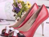 2014年新款鱼嘴蝴蝶结镂空拼色OL细高跟甜美优雅真皮春鞋单鞋女