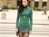 2014秋冬必备细线高领毛衣女 韩版多色弹力修身长袖针织衫