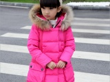 新款童装冬装儿童棉服毛领女大童加厚棉袄中长款外套