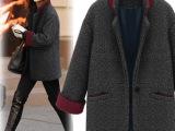 2014毛呢外套 女秋冬短新款一粒扣 欧美复古时尚气质呢大衣批