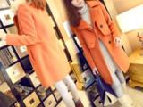 2014秋冬韩版新款高仿貂子毛领中长款毛呢大衣女外套