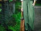 AA原创设计棉麻宽松灯笼裤日系文艺范复古亚麻长裤女装显瘦休闲裤