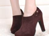 高跟靴子欧洲站2014秋冬新款高跟短靴 粗跟马丁靴潮女圆头款代发