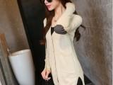 2015秋季新款韩版纯色V领毛衣中长款女式毛针织打底衫时尚外套