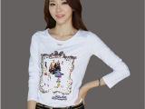 2014秋季新款韩版女装上衣 女式亮片绣花贴布T恤秋装纯棉长袖T