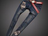 欧洲站女式牛仔裤潮 新款宽松大码破洞牛仔裤女长裤 一件代发744