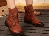 汇足美女鞋 手工原创复古马丁靴里外真皮女靴 文艺英伦范平底短靴