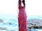 2014春夏新款波西米亚露背裙 V领吊带连衣裙 沙滩 长裙 拖地裙