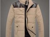 男装新款秋冬立领男式拼色拼皮棉袄 男 休闲保暖气质修身男外套