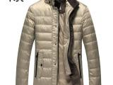 羽绒服 2014高档AJ休闲羽绒服男装立领中长款修身保暖外套白鸭