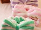 条纹束发带洗脸化妆运动束发巾 大蝴蝶结绒布包头巾发带韩国发箍