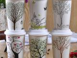 简约树隔热随行杯骨瓷杯子马克杯带盖水杯陶瓷情侣杯广告杯定制