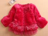 外贸欧美风秋冬季高档女童装保暖外套蕾丝拼接毛绒大衣 加厚 批发