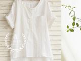 日系森女外贸女装风琴皱口袋纯色棉麻衬衫 代发批发