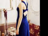 晚宴连衣长裙 优雅深V领礼服 露背性感修身洋装裙连衣长裙1306