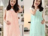 夏装韩版新款时尚雪纺孕妇裙格纹外出连衣裙 曼佧朵品牌网上直批