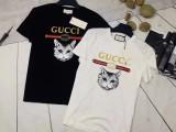 Gucci/古奇 古驰男女同款猫头印花T恤夏季情侣款休闲短袖