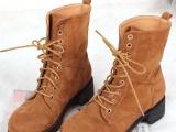 厂家直销新款英伦时尚中筒女靴保暖靴子 休