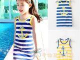 2014年夏季新款女童无袖T恤外贸童装韩版儿童条纹背心铁锚531
