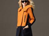 现货2014韩版秋冬新款中长款毛呢外套女 翻领连帽 毛呢大衣
