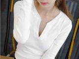 2014韩版秋装新款 全棉V领长袖打底衫女 百搭女式修身T恤潮品