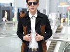 2014新款男式休闲修身西装 男士中长款潮流男装风衣 纯棉水洗外套