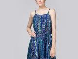 2015夏季新款高端女装波西米亚真丝丝棉印花吊带连衣裙品牌中长裙
