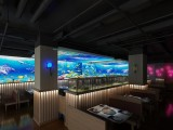 杭州市光影餐厅墙体装饰装修设计5D投影全息餐厅室内软装设计