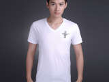 新潮男装批发 14年新款韩版纯色纯棉修身桃心领男式短袖t恤