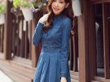 2015新款牛仔连衣裙女式半身裙长袖显瘦韩版连衣裙
