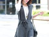 实拍2014秋新款韩版显瘦中长款无袖系腰带马甲 针织背心外套 女