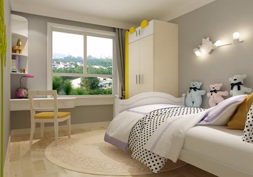 儿童房:儿童房,床、窗帘、凳子和地毯,以及床头背景的装饰画都是简洁有质感,充满活力且很小清新。.jpg