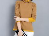 2014年秋冬新款推推领貂绒毛衣修身拼接针织保暖打底衫大码女装